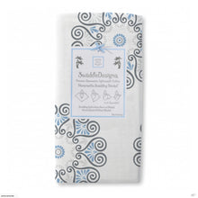 Load image into Gallery viewer, Marquisette Swaddling Blanket -Medallions blue