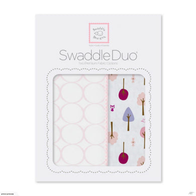 SwaddleDuo - Cute & Calm Duo Gift Set - Pastel Pink Swaddle Blankets
