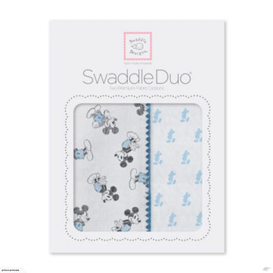 SwaddleDuo - Classic Mickey - Blue, Gray URB + Pastel Blue Little Mickey MSB