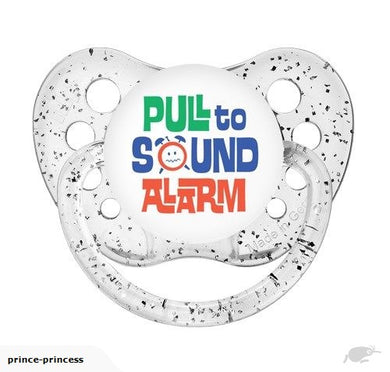 Pull to Sound Alarm - Glitter Clear Pacifier