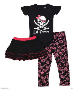 Lil' Pirate, girl's set includes bodysuit, skirt and legging