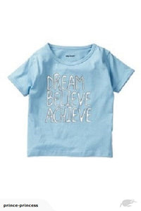 Dream, Believe, Achieve | girl blue silver T-shirt