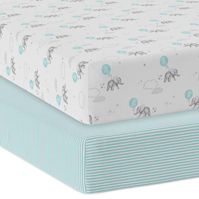 2-PACK JERSEY COT FITTED SHEET - DREAM BIG/AQUA STRIPE