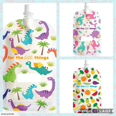 Sinchies mixed print 200ml top spout reusable food pouches pack of 10