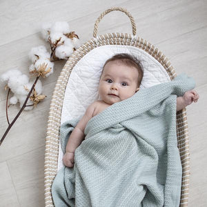 Organic Bassinet/Cradle Cellular Blanket - Sage