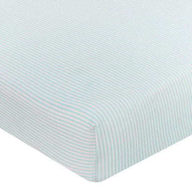 JERSEY COT FITTED SHEET - AQUA STRIPE