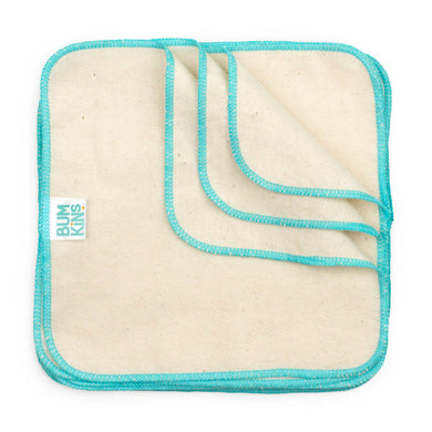 Reusable Baby Wipes - Natural/Aqua Trim 12pk