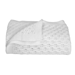 100% COTTON LATTICE KNIT BABY BLANKET - PURE WHITE