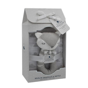 CHARLIE THE FOX RATTLE & MUSLIN GIFT SET