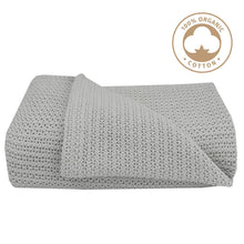 Load image into Gallery viewer, ORGANIC COT CELLULAR BLANKET - GREY