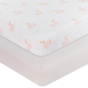 2-PACK JERSEY COT FITTED SHEET - SWAN PRINCESS/PINK STRIPE