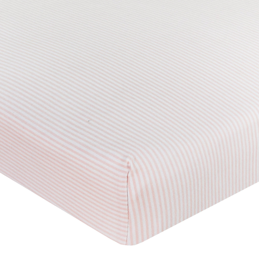 JERSEY COT FITTED SHEET - PINK STRIPE