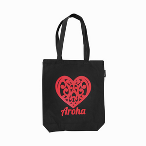 Bag Black Canvas NZ Aroha 40x30cm