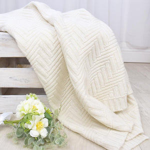 MERINO WOOL PRAM BLANKET - NATURAL WHITE