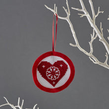 Load image into Gallery viewer, Mini heart christmas cross stitch decoration