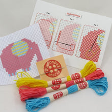 Load image into Gallery viewer, Mini elephant cross stitch kit