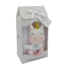Load image into Gallery viewer, KENZIE THE UNICORN RATTLE & MUSLIN GIFT SET