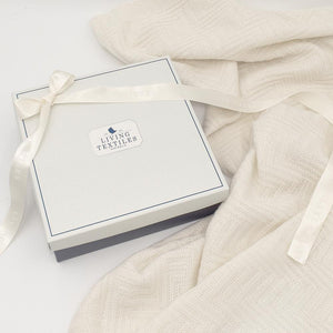 MERINO WOOL COT BLANKET - NATURAL WHITE