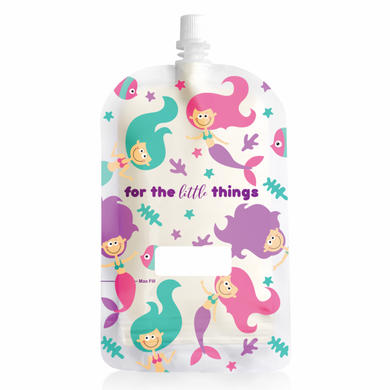 Sinchies Mermaid print 200ml top spout reusable food pouches pack of 10