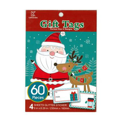Xmas Stickers Book Gift Tag 60pc