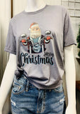Merry Christmas Motorcycle Santa Graphic Tee