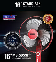 "MORRIES 16"" STAND FAN W/TIMER (METAL BLADE) MS565SFT"