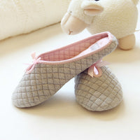 Lovely Bowtie Women Home Slippers For Indoor Bedroom House Soft Bottom Cotton Warm Shoes Adult Guests Flats