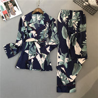 Printing Pattern Women Pajama Set Sleepwear Long Sleeve Trousers Two Paper Suit
