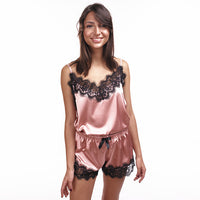 Women's Sleepwear Sexy Pajama Set Black Lace V-Neck Pyjamas Sleeveless Cute Cami Top and Shorts