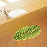 Green Leaf Shape Soft Carpet Slip Resistant Water Absorption Floor Mat Area Rug Bathmat Living Room Bedroom Washable Carpet
