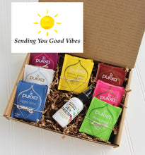 Load image into Gallery viewer, Holistic Natural Organic Vegan Gifts - Gift Good Vibes - Send Good Vibes Sending Good Vibes Gift Box - Organic Tea & Aromatherapy