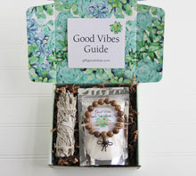 Load image into Gallery viewer, Holistic Natural Organic Vegan Gifts - Gift Good Vibes - Send Good Vibes Feather Card - Sage Natural Holistic Gift Box for Women