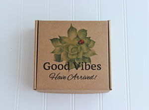 Holistic Natural Organic Vegan Gifts - Gift Good Vibes - Send Good Vibes Feather Card - Couples Holistic Gift Box - Any Occasion - Small