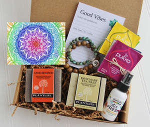 Holistic Natural Organic Vegan Gifts - Gift Good Vibes - Send Good Vibes Holistic Couples Gift Box - Any Occasion - Large - Mandala Card