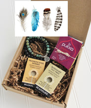 Load image into Gallery viewer, Holistic Natural Organic Vegan Gifts - Gift Good Vibes - Send Good Vibes Feather Card - Couples Holistic Gift Box - Any Occasion - Small