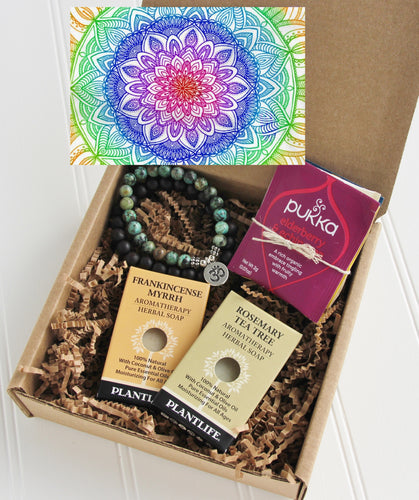 Holistic Natural Organic Vegan Gifts - Gift Good Vibes - Send Good Vibes Holistic Couples Gift Box - Any Occasion - Mini - Mandala Card