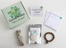 Load image into Gallery viewer, Holistic Natural Organic Vegan Gifts - Gift Good Vibes - Send Good Vibes Sage Sending Good Vibes Care Package