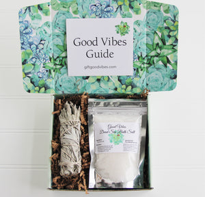 Holistic Natural Organic Vegan Gifts - Gift Good Vibes - Send Good Vibes Sending Good Vibes - Sage Care Package