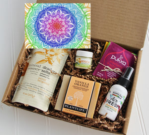 Holistic Natural Organic Vegan Gifts - Gift Good Vibes - Send Good Vibes Holistic Gift Box for Women - Any Occasion - Medium - Mandala Card