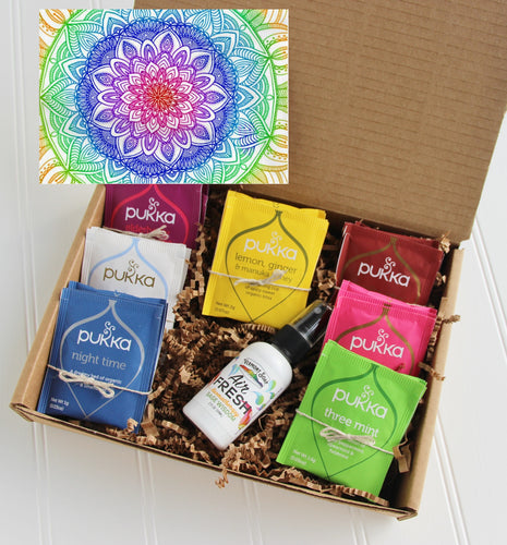 Holistic Natural Organic Vegan Gifts - Gift Good Vibes - Send Good Vibes Mandala Card - Organic Tea Gift Box
