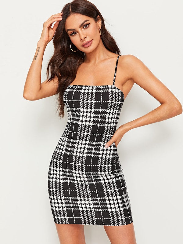 Womens Plaid Slip Dress