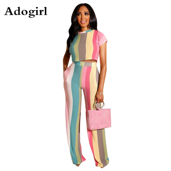 Women's Crop Top Color Striped Two Piece Set