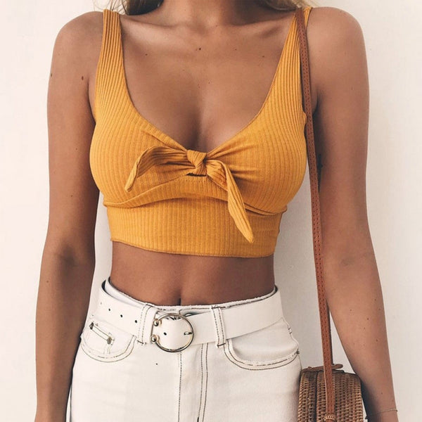 Women Summer Ribbed Bow Tie Camisole Tank Tops  Basic Crop Top Streetwear Fashion 2018 Cool Girls Cropped Tees Camis
