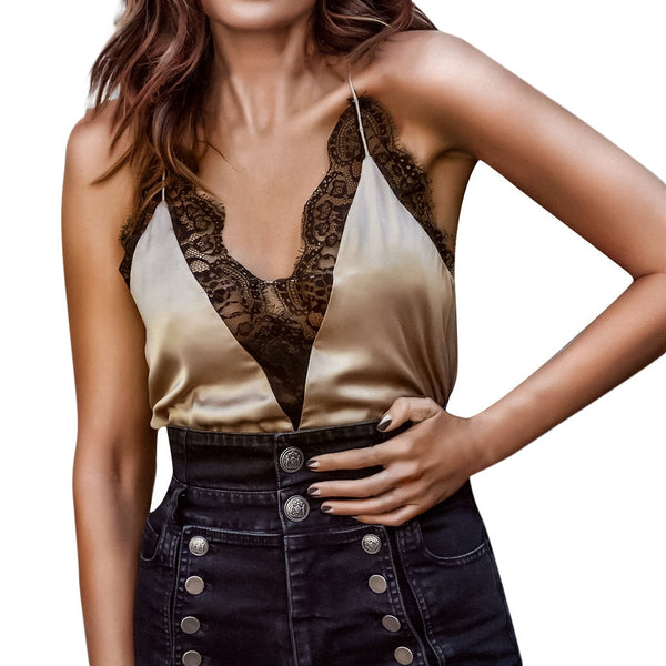 Fashion Summer Women Camis Sexy V-Neck Woven Patchwork Lace Camis Sleeveless Vest Camisole z0419