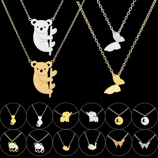 Women's Stainless Steel Chain Butterfly Elephant Panda Birds Pendants