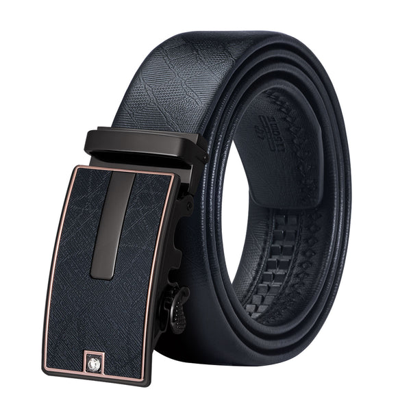 Hi-Tie Luxury Brand Mens Designer Belts for Men Formal Black Leather Belt for Suit Business Automatic Buckle Belt 160cm PD-0081