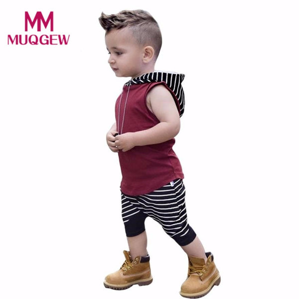 MUQGEW Toddler Kids Clothes Baby Boy Summer Hooded Vest Tops+Shorts Pants 2pcs Outfits Clothes Set
