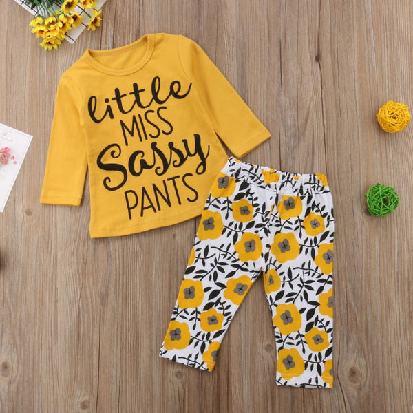 Baby Girls Boutique Autumn Spring Clothes Set Girls Little Miss Sassy Pants Clothing Kids Coral Tops Pants Set