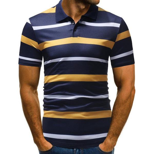 LASPERAL Plus Size Polo Shirt Men 2019 Fashion Striped Workwear Polo Shirt Male Summer Short Sleeve Turn-down Mens Clothing 3XL