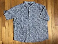Blue and Black Leopard Print Collared Shirt L + XL
